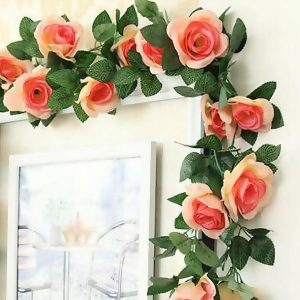 Artificial Silk Rose Garland 7 Feet Champagne