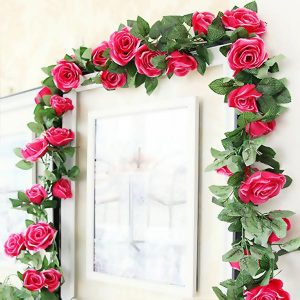 Artificial Silk Rose Garland 7 Feet Rose Red