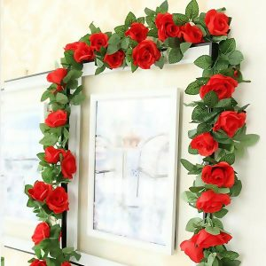 Artificial Silk Rose Garland 7 Feet Red