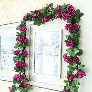 Artificial Silk Rose Garland 7 Feet Purple