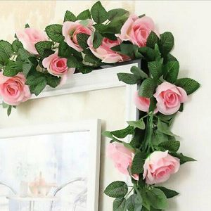 Artificial Silk Rose Garland 7 Feet Pink