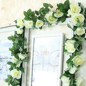Artificial Silk Rose Garland 7 Feet White