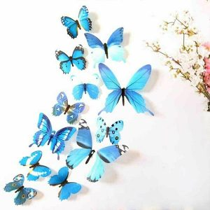 12 x 3D Butterfly Wall Stickers Blue