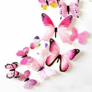12 x 3D Butterfly Wall Stickers Pink
