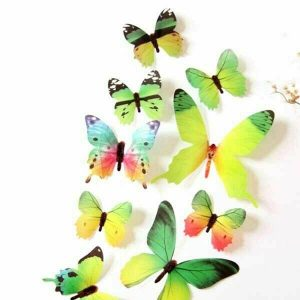 12 x 3D Butterfly Wall Stickers Green