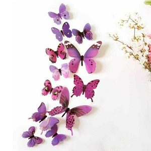 12 x 3D Butterfly Wall Stickers Purple
