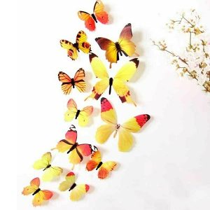 12 x 3D Butterfly Wall Stickers Yellow