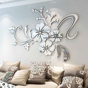 Mirror Flower Wall Sticker Acrylic Mural