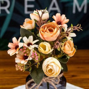 1 Bunch Faux Flowers Rustic Tea Rose Orange