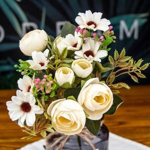 1 Bunch Faux Flowers Rustic Tea Rose White