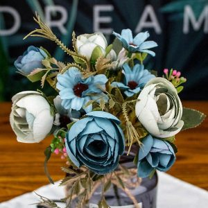 1 Bunch Faux Flowers Rustic Tea Rose Blue