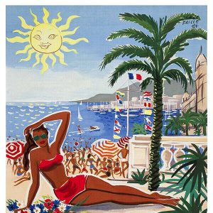 High Quality Vintage Travel Print Wall Poster Cote D'Azur