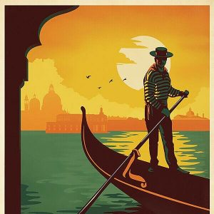 High Quality Vintage Travel Print Wall Poster Venice