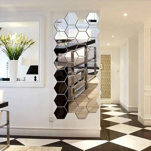 36 x Hexagon Mirror Tiles Mosaic Wall Stickers