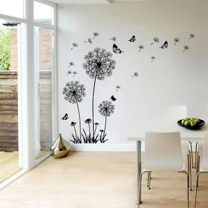 Large Flying Dandelion Flower Butterfly Wall Stickers