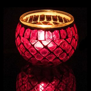 Glass Mosaic Tea Light Candle Holder Pink
