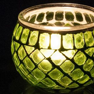Glass Mosaic Tea Light Candle Holder Green