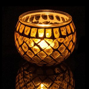 Glass Mosaic Tea Light Candle Holder Yellow