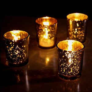 12 x Golden Glass Tea Light Candle Holders
