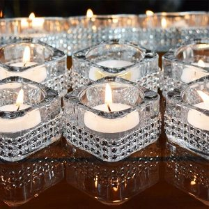 5 x Diamante Glass Tea Light Candle Holders