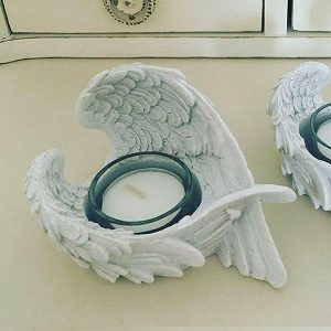 White Angel Wing Tea Light Candle Holder