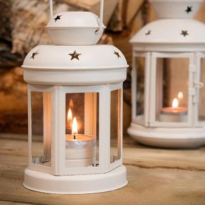 2 x Metal Tea Light Candle Lanterns White