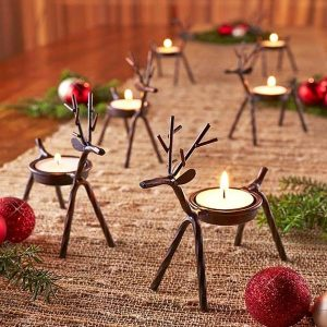 6 x Metal Reindeer Tea Light Candle Holders