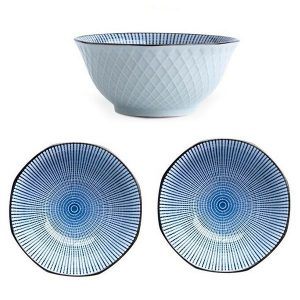 3 x Japanese Style Ceramic Crockery Bowl Set Blue Stripes