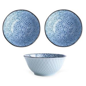 3 x Japanese Style Ceramic Crockery Bowl Set Blue Flowers