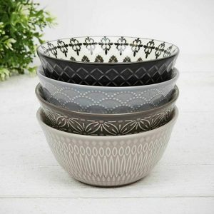 4 x Patterned Ceramic Crockery Bowl Set Mixed Styles