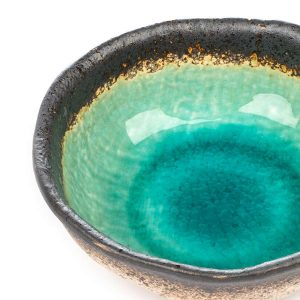 Small Turquoise Crackle Glaze Japanese Bowl