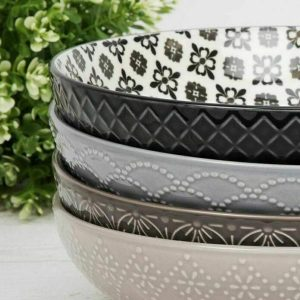 4 x Patterned Large Ceramic Crockery Bowl Set Mixed Styles