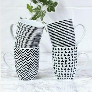 4 x Mug Set Black And White Porcelain Geometric Shapes