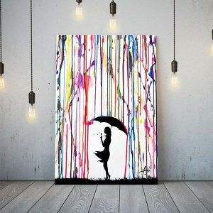 Banksy Style Coloured Girl Rain Umbrella
