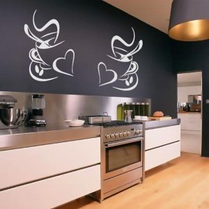 2 x Kitchen Wall Stickers Coffee Cups