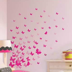 37 x Butterfly Wall Art Stickers Mixed Sizes Pink