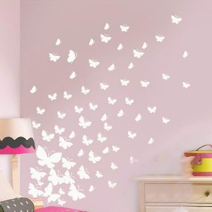 37 x Butterfly Wall Art Stickers Mixed Sizes White