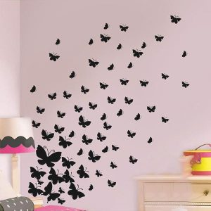 37 x Butterfly Wall Art Stickers Mixed Sizes Black