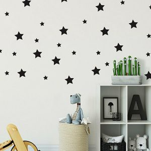 57 x Star Wall Art Stickers Mixed Sizes Black