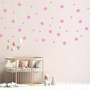 57 x Star Wall Art Stickers Mixed Sizes Pink