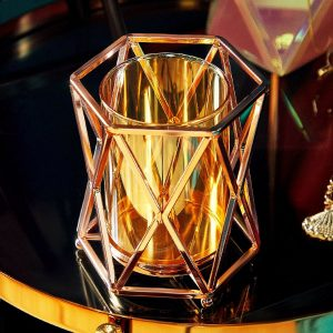 Beautiful Rose Gold Metal & Glass Tealight Candle Holder
