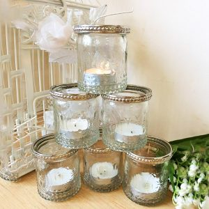 6 x Vintage Glass Tealight Candle Holders With Metal Silver Rim