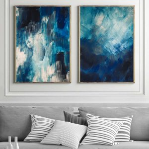 2 x Abstract Wall Art Painted Prints Blue