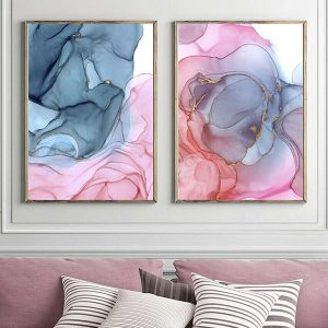 2 x Abstract Wall Art Prints Pink Blue Gold
