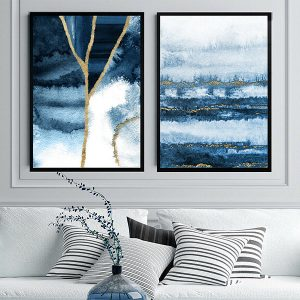 2 x Abstract Wall Art Prints Navy Blue