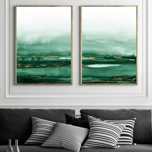 2 x Abstract Wall Art Prints Emerald