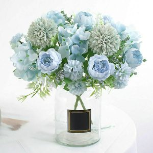 Silk Peony Faux Flowers Bouquet Blue