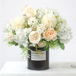 Silk Peony Faux Flowers Bouquet Champagne