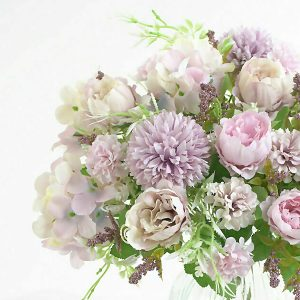 Silk Peony Faux Flowers Bouquet Purple