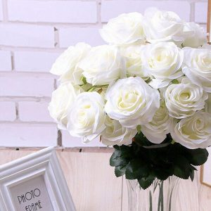 10 x Silk Roses Heads Faux Flowers White
